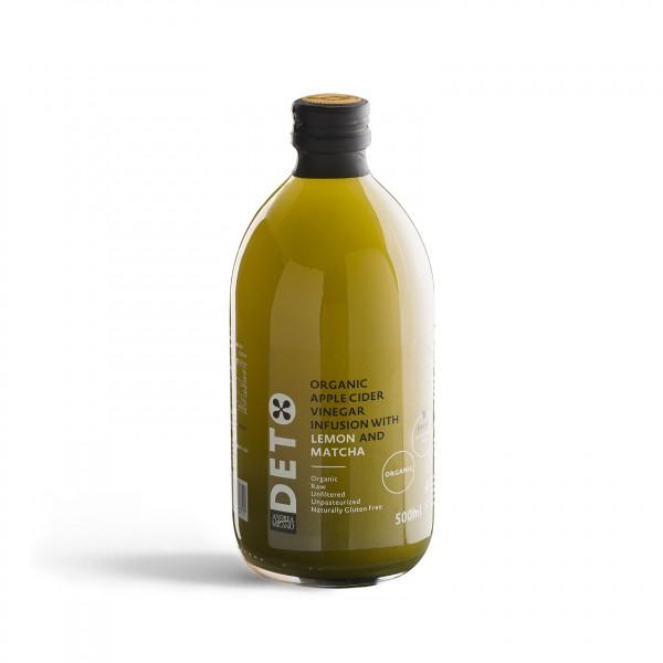 Яблочный органический уксус с лимоном и чаем матча, 500 мл