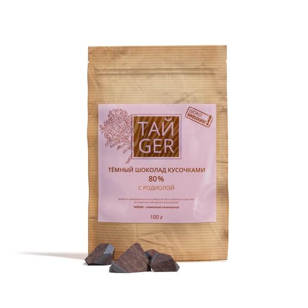 Шоколад ТАЙGER с родиолой, без сахара, 100 г / 500 мг